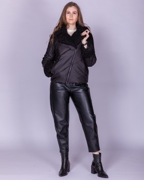 Куртка косуха черная с мехом искусственным