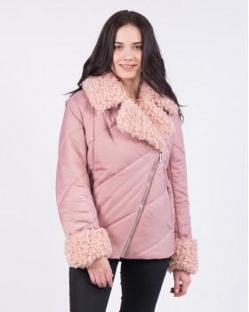 Розовая женская куртка с косой молнией