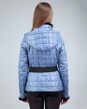 Стеганная женская куртка с норкой
