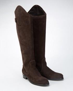 Сапоги высокие замшевые коричневые