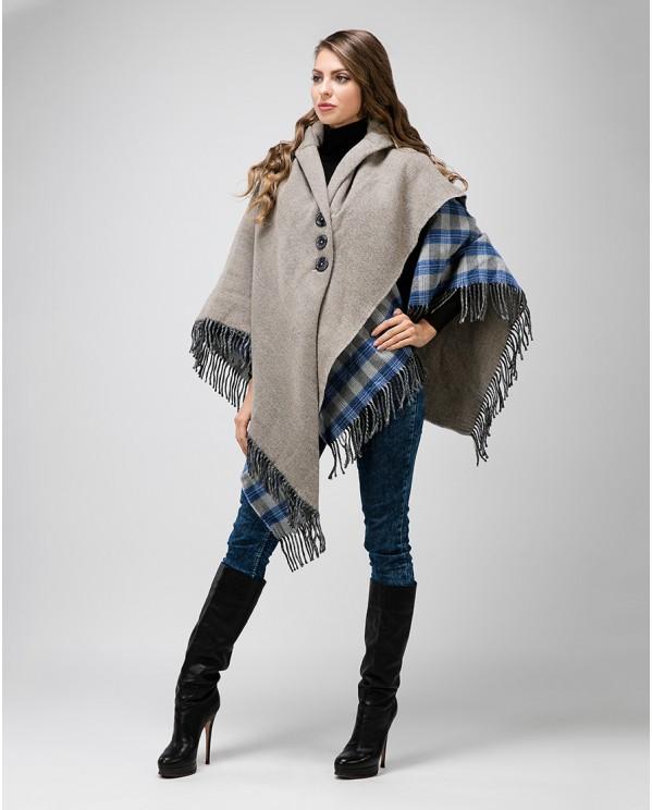 Итальянское пальто пончо с пуговицами