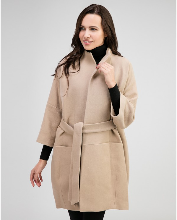 Пальто женское из шерсти силуэта кокон