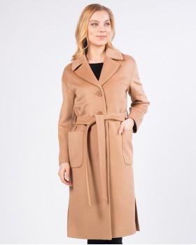 Пальто цвета кэмел прямое с поясом