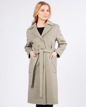 """Пальто длинное из ткани """"в диагональ"""""""