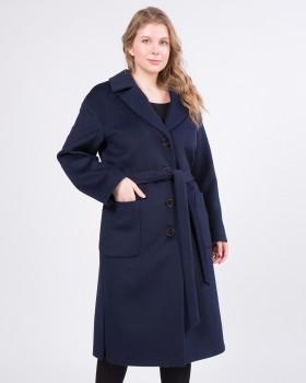 Синее пальто прямого силуэта большие размеры
