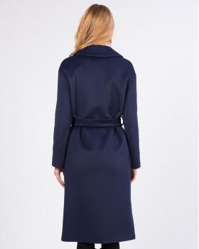 Синее прямое пальто с английским воротником