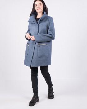 Стильное пальто средней длины полушерсть