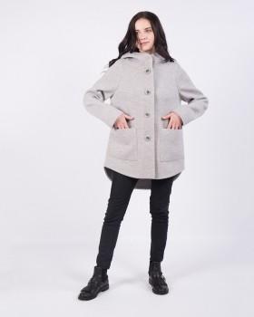 Пальто серое с удлиненной спинкой