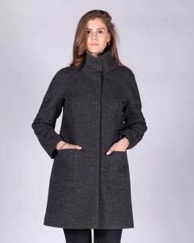 Темно-серое пальто из ткани трикотаж