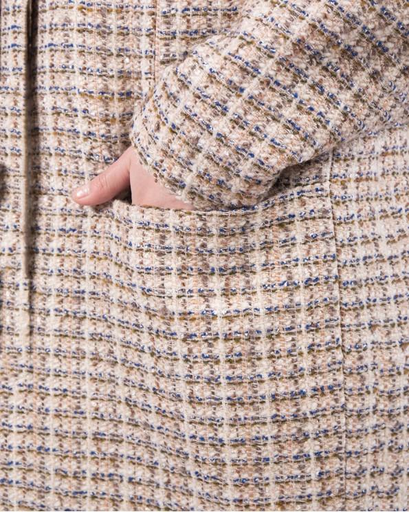 """Женское пальто в клетку из такани """"шанель"""""""