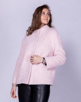 Женское стильное короткое пальто из ткани с ворсом