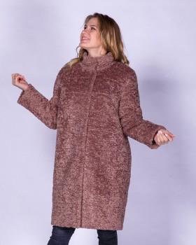 Утепленное зимнее пальто из ткани под барашка