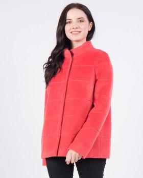 Пальто из альпака укороченное кораллового цвета