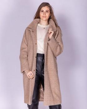Пальто из ткани в елочку с рукавом летучая мышь