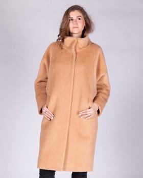 Пальто песочного цвета из ткани с ворсом