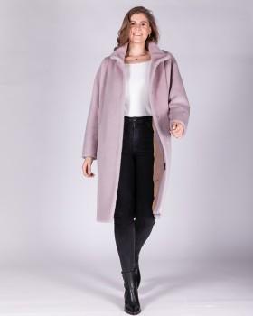 Пальто по колено с объемным рукавом
