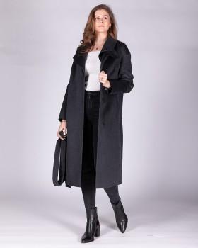 Длинное пальто с оригинальным двойным воротником