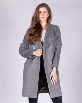 Серое двубортное пальто с воротником апаш