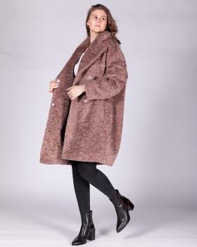 Пальто свободного кроя из ткани букле