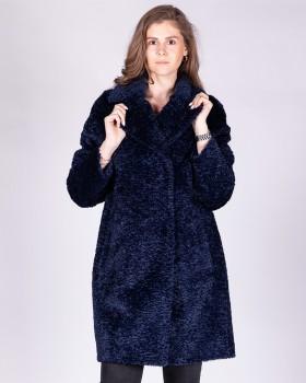 Утепленное синее пальто оверсайз из ткани букле