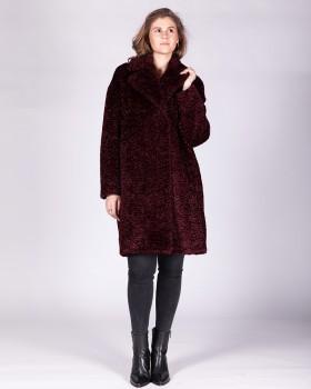 Женское пальто из ткани под мех