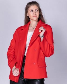 Красное короткое пальто с английским воротником