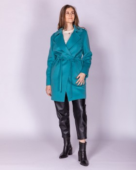 Шерстяное женское пальто с кулиской