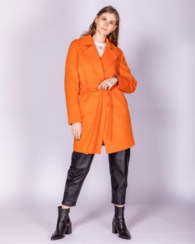 Пальто оранжевое из шерсти