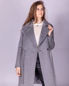 Серое пальто из шерсти с кулиской на поясе