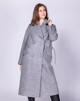 Длинное стильное двубортное шерстяное пальто