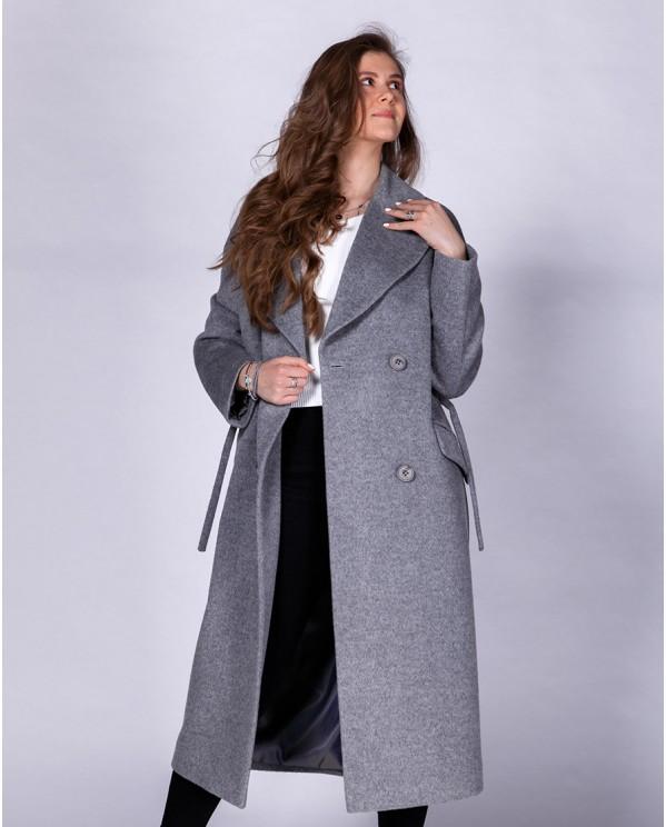 Длинное серое пальто российского производства