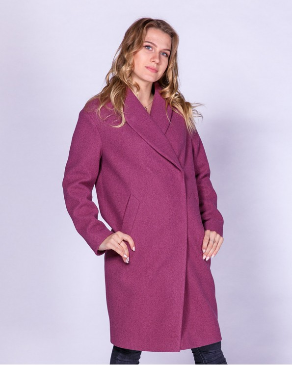 Яркое стильное пальто с воротником шалькой