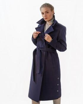 Синее двубортное классическое пальто