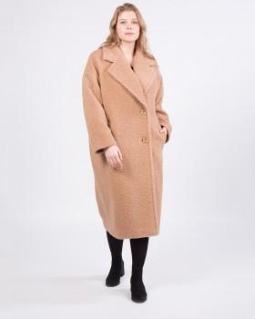 Прямое длинное пальто из ткани букле