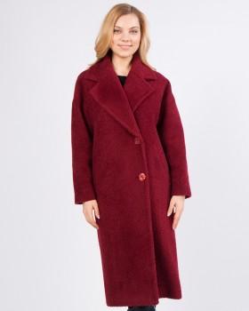 Утепленное пальто тедди бордового цвета