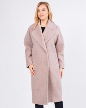 Модное женское пальто цвет пудра