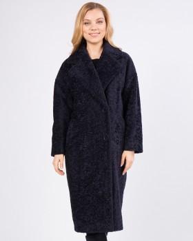 Синее пальто из ткани букле
