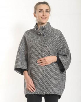 Короткое пальто оверсайз черно-белое
