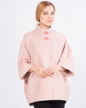 Розовое короткое пальто-кокон из букле