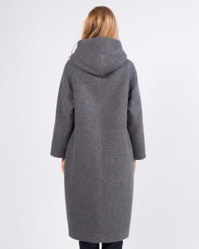 Пальто с капюшоном из ткани букле