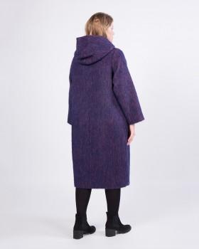 Пальто с капюшоном из ткани с ворсом