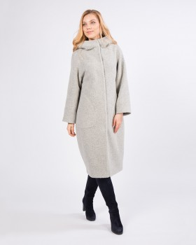 Пальто букле светло-серое длинное