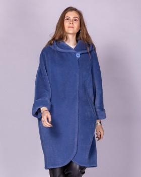 Свободное женское пальто с капюшоном