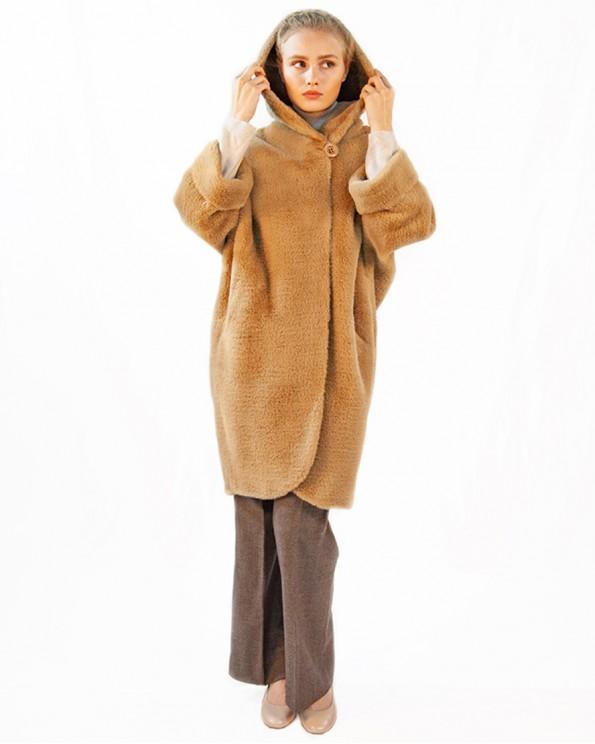 Пальто свободного силуэта с капюшоном