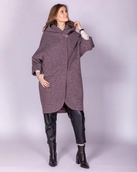 Пальто кокон с цельнокроеным рукавом и капюшоном