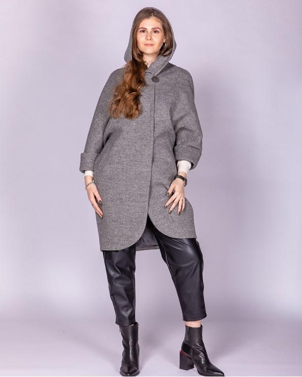 Пальто женское серого цвета с капюшоном ALVO