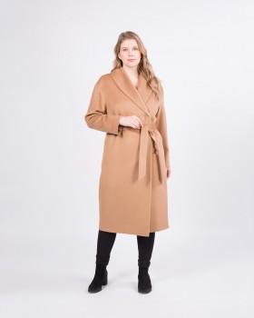 Бежевое пальто халат с поясом