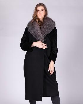 Черное длинное пальто из кашемира с мехом