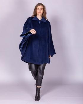 Синее пальто пончо из альпака