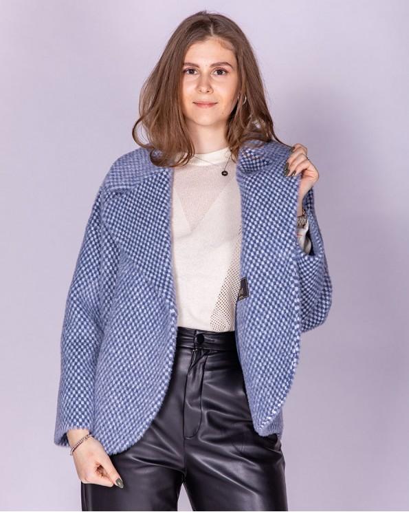 Пальто укороченное в сине-белую клетку
